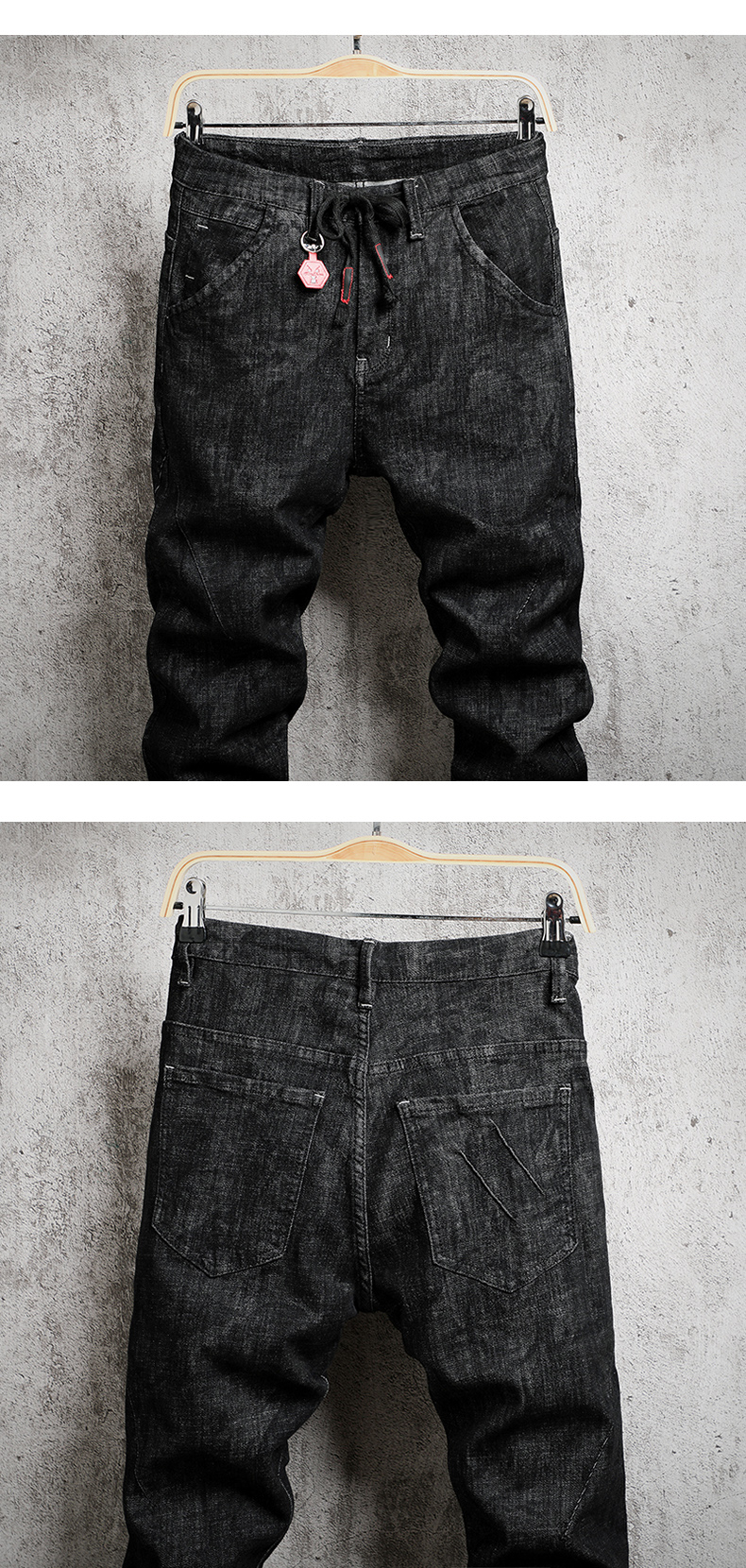 KSTUN jeans men autumn and winter black skinny slim hip hop denim pants drawstring elastic waist