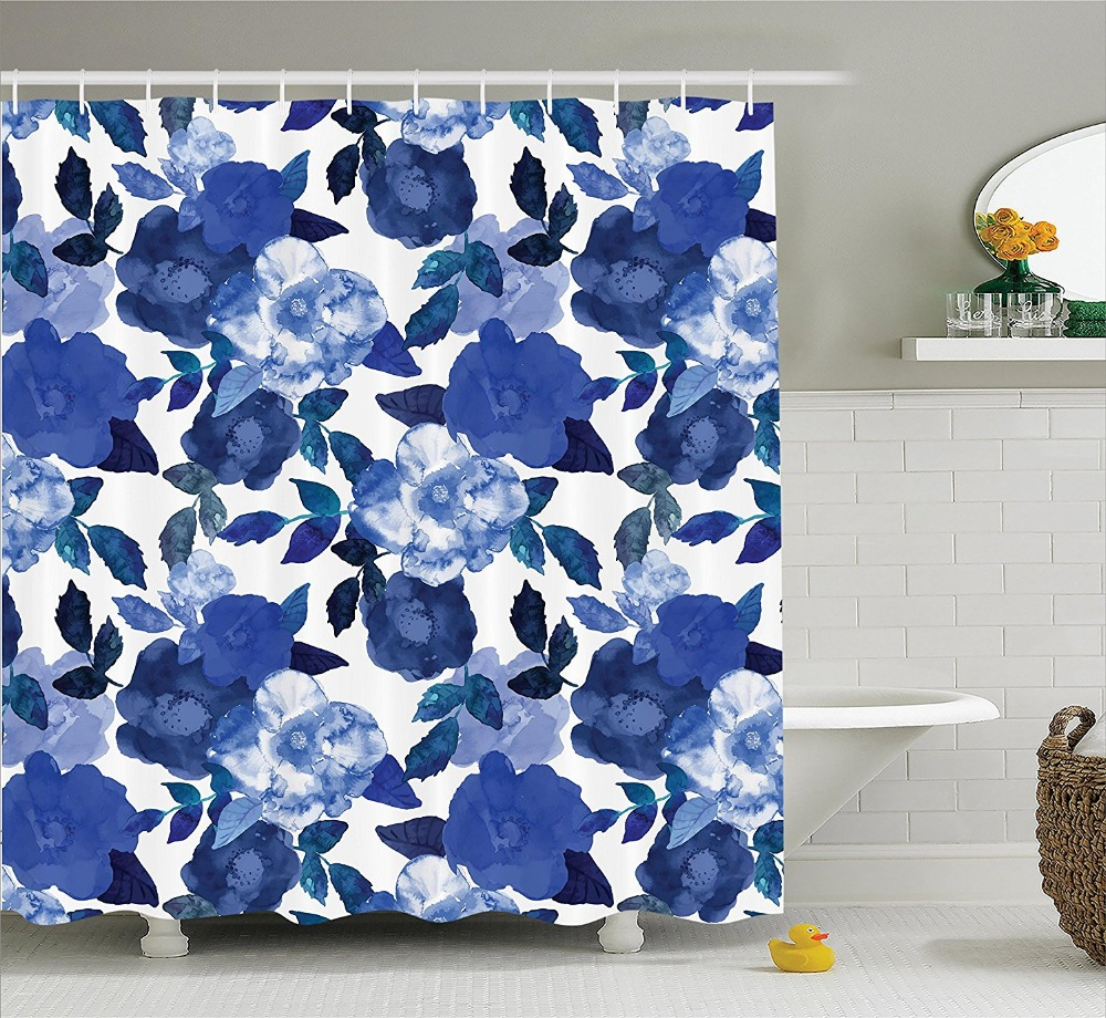 Exclusive fabrics painted chevron printed cotton curtain free - Lively Watercolor Painted Simplistic Large Flowers Shower Curtain Printing Waterproof Mildewproof Polyester Fabric Bath Curtain