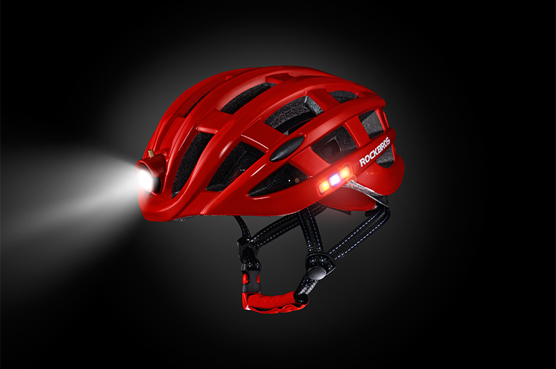 ROCKBROS Cycling Helmet with integrated front and side safety lights 27