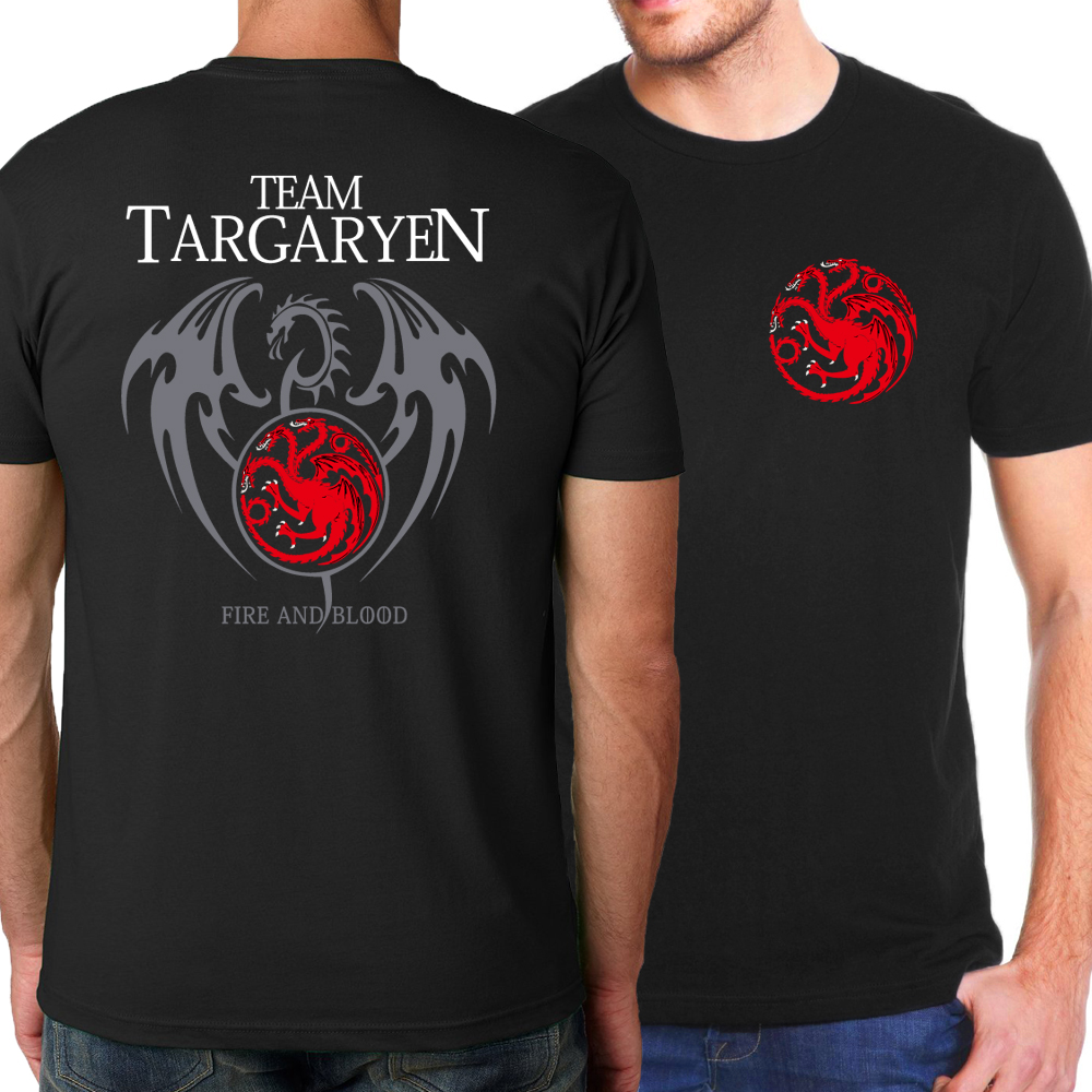 Game of Thrones Targaryen Fire & Blood   T     Shirt   Men 2019 Summer Fit Slim Men   T  -  Shirts   100% Cotton Men's Sportswear   T  -  shirts   Kpop