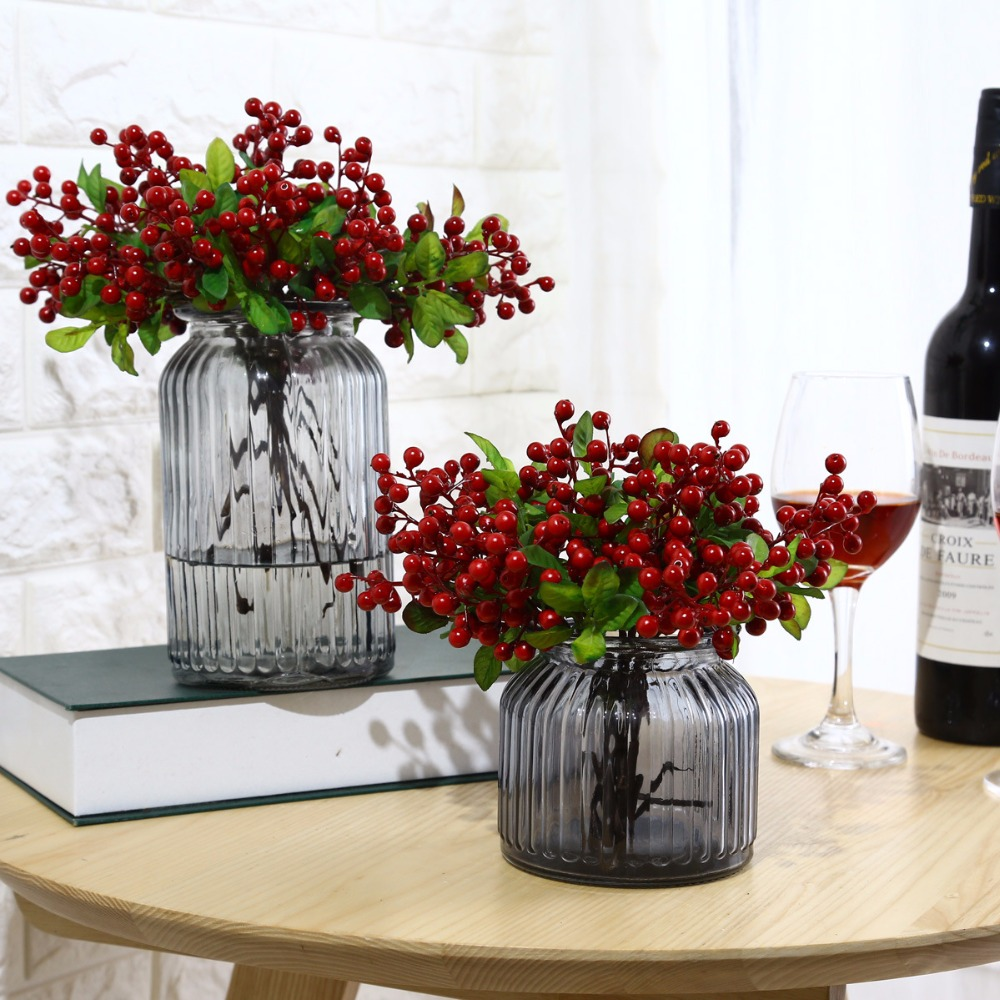2pcs Artificial Flowers Berry Latex Real Touch Fruits Wedding Decoration Simulation Flowers Xmas Home Artificial Plants A3535