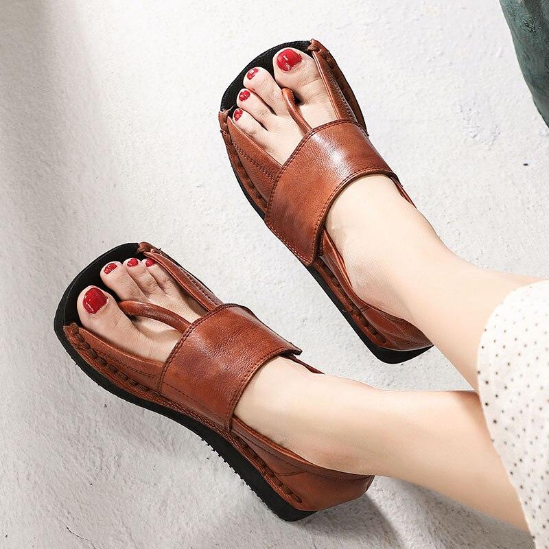 baaab63edb4aec Damskie skórzane sandały klapki japonki prawdziwej skóry buty na koturnie  kobiety Handmade sandały na platformie buty retro marka klapki japonki  kobiety w ...