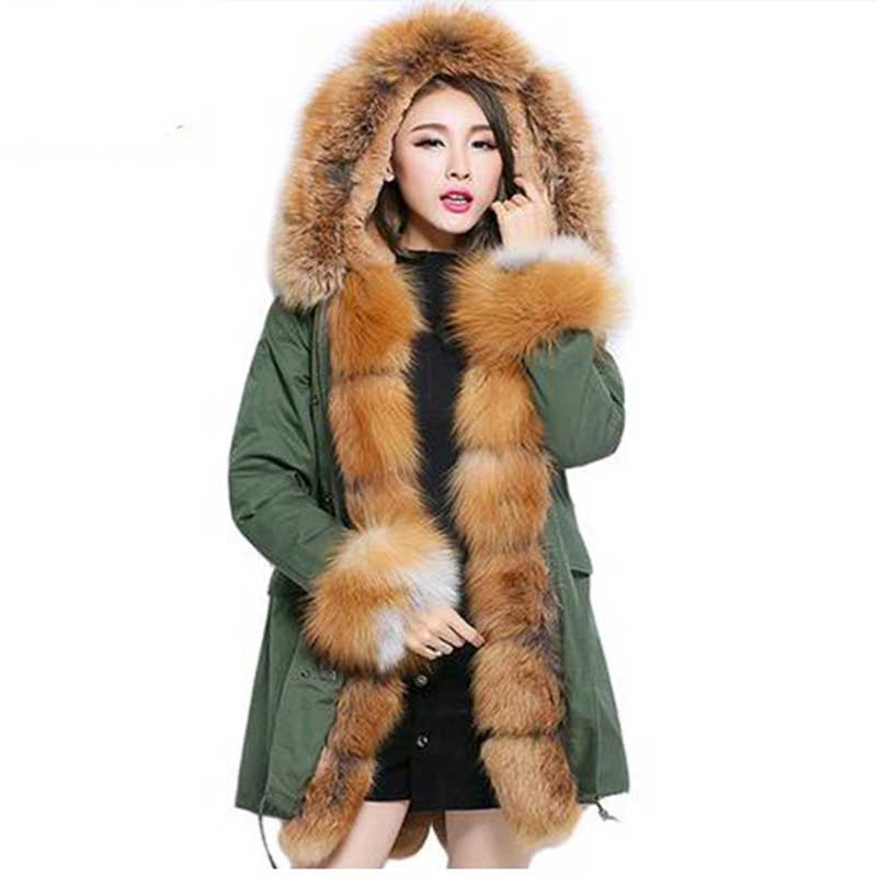 Korean Style Genuine Fox Fur Collar Coat New Fashion Women Winter Jackets And Coat Hooded Thick Casual Outwear Faux Liner Parkas 2017 winter new clothes to overcome the coat of women in the long reed rabbit hair fur fur coat fox raccoon fur collar