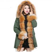 Korean Style Genuine Fox Fur Collar Coat New Fashion Women Winter Jackets And Coat Hooded Thick Casual Outwear Faux Liner Parkas