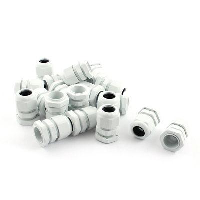 M22 Locknut Thread Type White Plastic Waterproof Cable Gland 10-14mm 20 Pcs