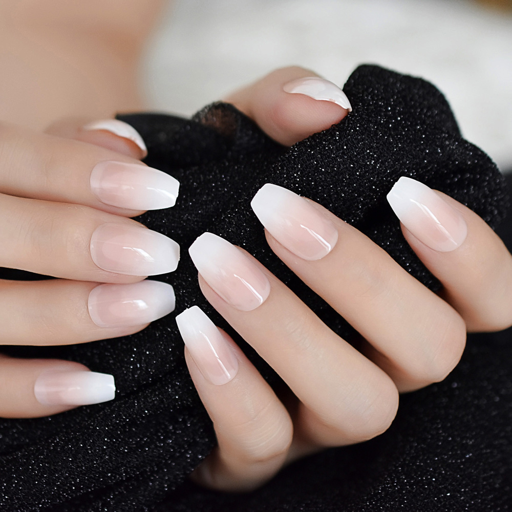 Ombre French Ballerina Fake Nail Gradeint Natural Coffin ...