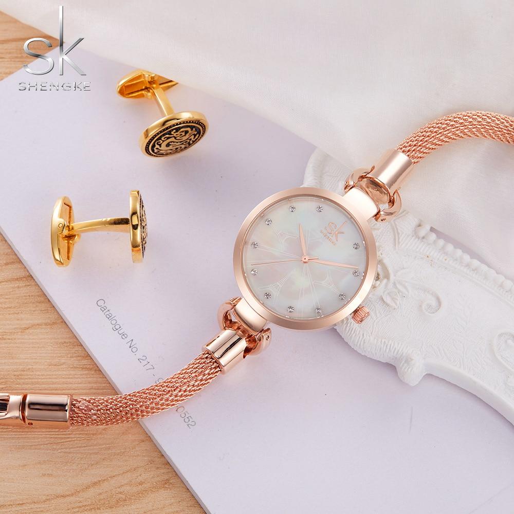 SK Nowe mody kobiet zegarki eleganckie różowe złoto diamenty - Zegarki damskie - Zdjęcie 1