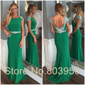 Green Evening Dresses Backless Cap Sleeve With Beading Robe De Soiree Elegant Long Evening Dress New Vestido De Festa