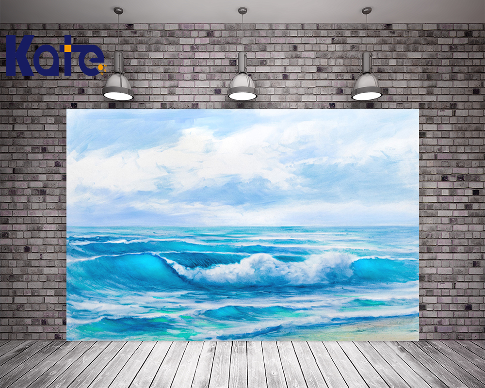KATE 5x7ft Summer Seaside Scenery Backdrops Bokeh Painting Waves Background Kid White Clouds and Blue Sky Photo for Studio kate photo background scenery