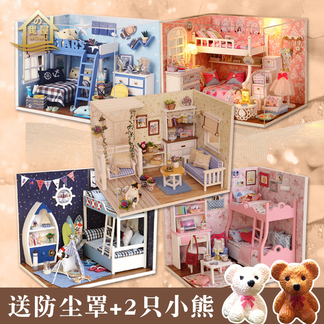 XXXG DIY Cabin Kitten Diaries Hand Assembled Toy House Building Model To Send A Birthday Gift