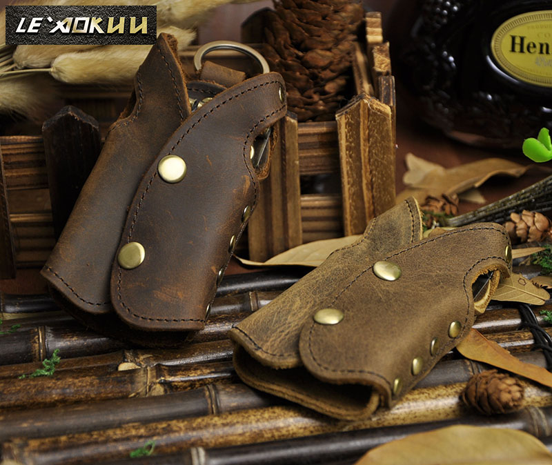 2016 New Top Quality Men Genuine Leather Vintage Brown Waistcoat Car Key Case Ring Cover Holder мужские часы luminox xs 7051