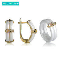 MECHOSEN White Black Ceramic Jewelry Sets Earrings Rings Double Keramisch Bagues Femme CZ Zircon Copper Aretes