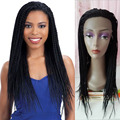 Hot Popular Heat Resistant Synthetic Hair Braiding Wig For Black Woman Micro Box Braided Synthetic Hair Lace Front Wig
