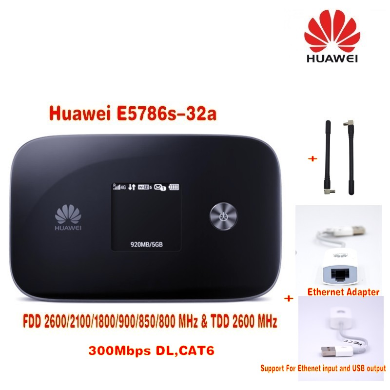 Unlocked Huawei 300M router E5786, 4G LTE Cat6 Mobile WiFi E5786s-32a with TFT-LCD screen +huawei Ethernet adapter me240 lcd ethernet su