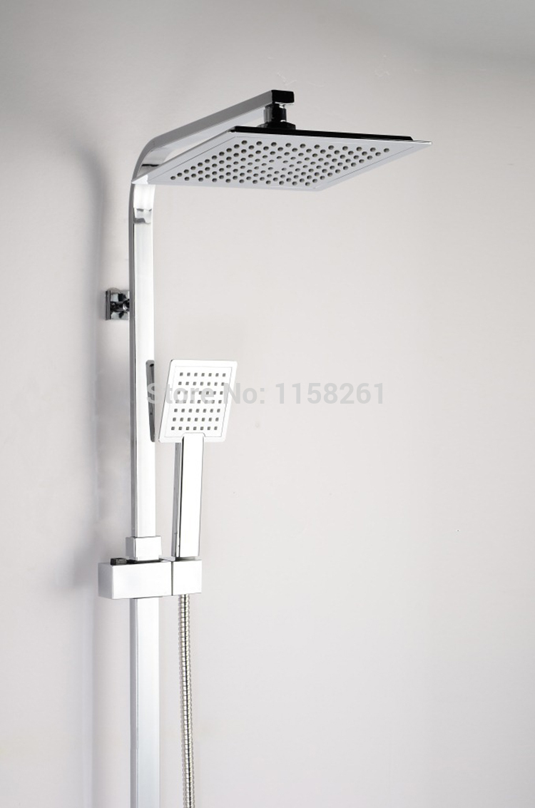 Vidric Shower Faucet Brass Chrome Thermostatic Bathroom Faucet Set Square Rain Shower Head Handheld Wall Mounted Mixer Bathtu free shipping new arrival brass chrome bathroom luxury wall mounted thermostatic mixer valve rain shower mixer set