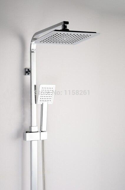 Simple Elegant Vidric Shower Faucet Brass Chrome Thermostatic Bathroom Faucet Set Square Rain Shower Head Handheld Wall Mounted Photo - Fresh bathroom shower heads and faucets Modern
