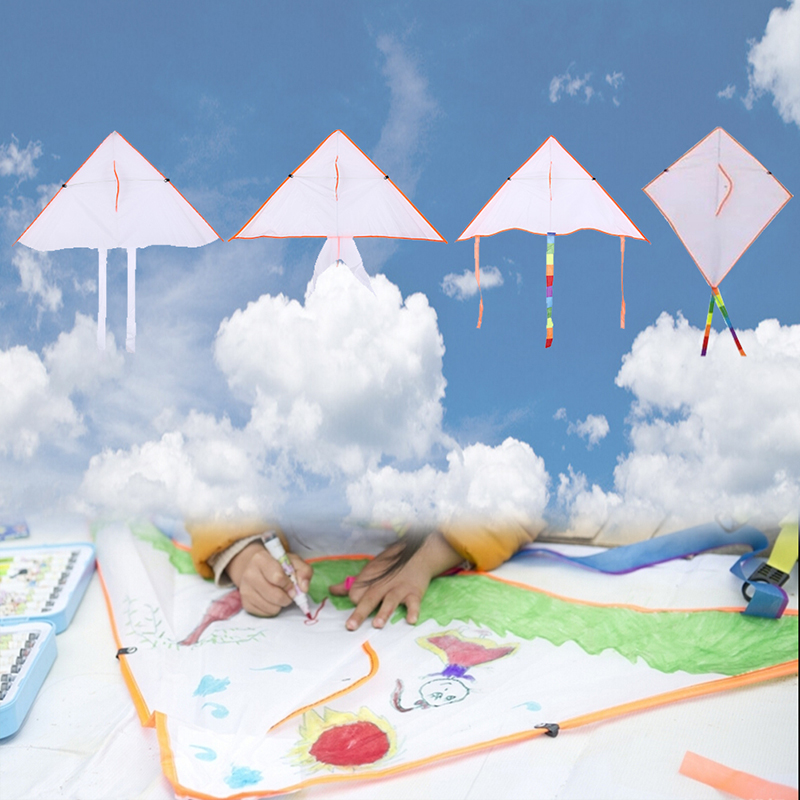 Colorful Kite Flying Foldable DIY Painting Kite Outdoor Beach Kite Children Kids Sport Funny Toys Garden Cloth Kite