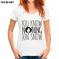 Women Tshirt Harajuku YOU KNOW NOTHING JON SNOW Letters Print Funny Shirt For Lady Top Tee