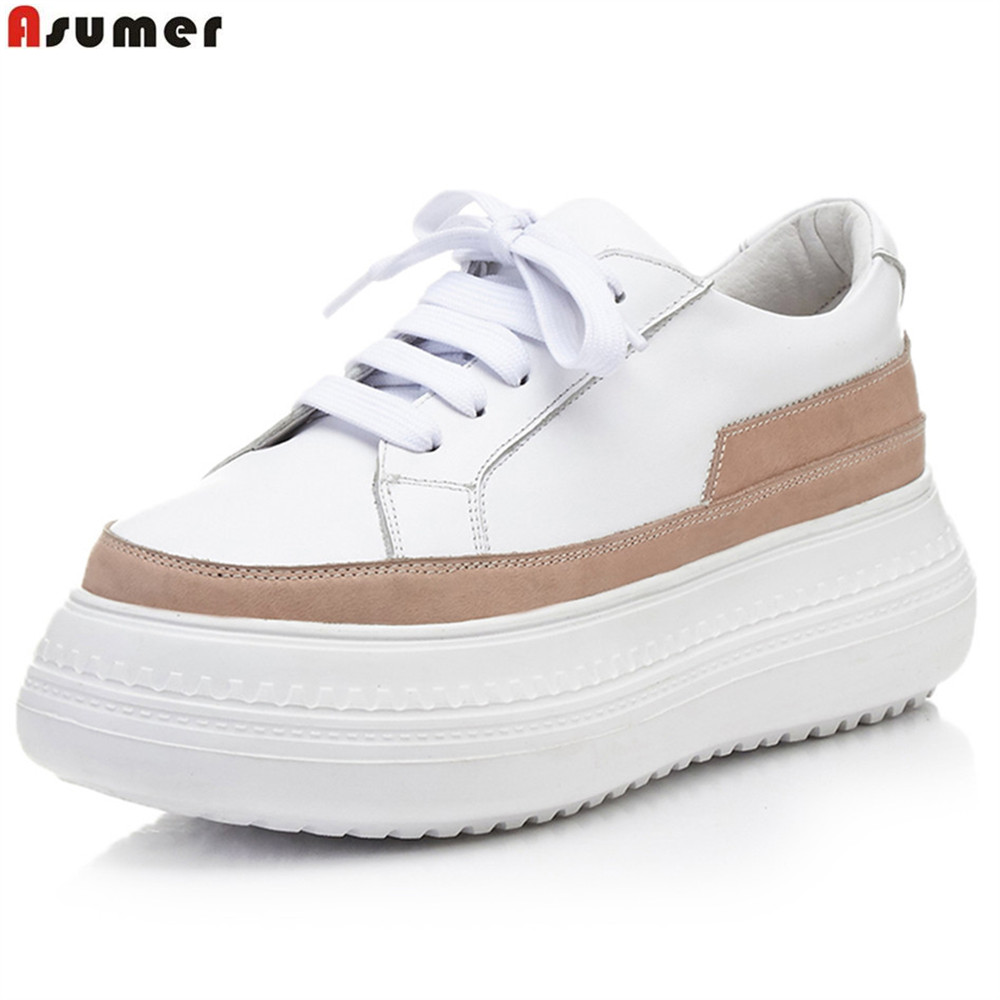ASUMER pink gray fahsion spring autumn new ladies flat platform shoes round toe casual mixed colors women genuine leather flats beffery 2018 spring patent leather shoes women flats round toe casual shoes vintage british style flats platform shoes for women