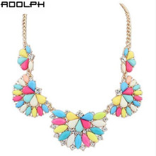 Star Jewelry New Choker Fashion Necklaces For Women 2014 Bright Fan Color Stone Crystal Flower Pendant Statement Necklace YW-60
