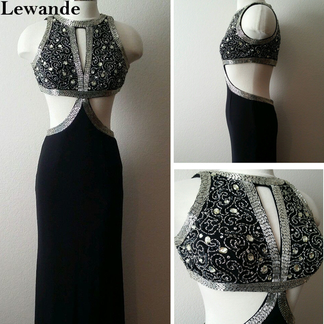 8e75c55f0bf5b Black Beaded Jersey Cutout Sexy 32001 Prom Dress Long Slim Open Back  Pageant Evening Gown