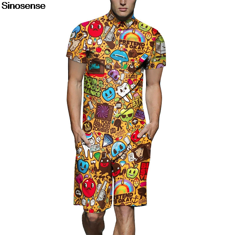 fd9976c04183 New Summer Cartoon Funny 3D Printed Men Rompers Plus Size Men Set 2019  Fashion Beach Romper