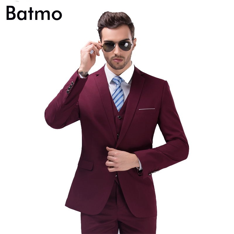2017 new arrival High quality weding dress one button casual suit men wine red men s