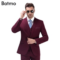 2016 New Arrival High Quality Weding Dress One Button Casual Suit Men Wine Red Men S