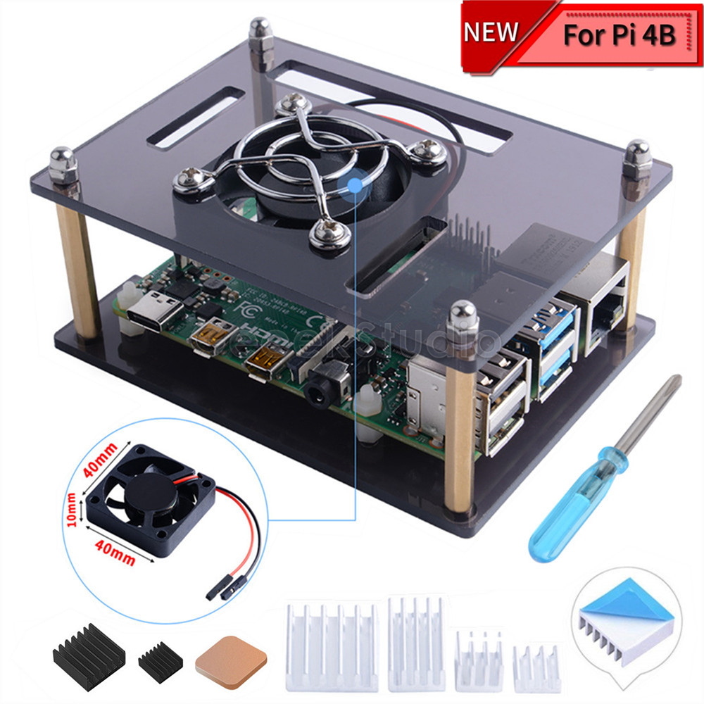 Acrylic Dark Brown Clear Case Enclosure Cover For Raspberry Pi 4 Model B, With Cooling Fan For Raspberry Pi 4B / 3B+ / 3B