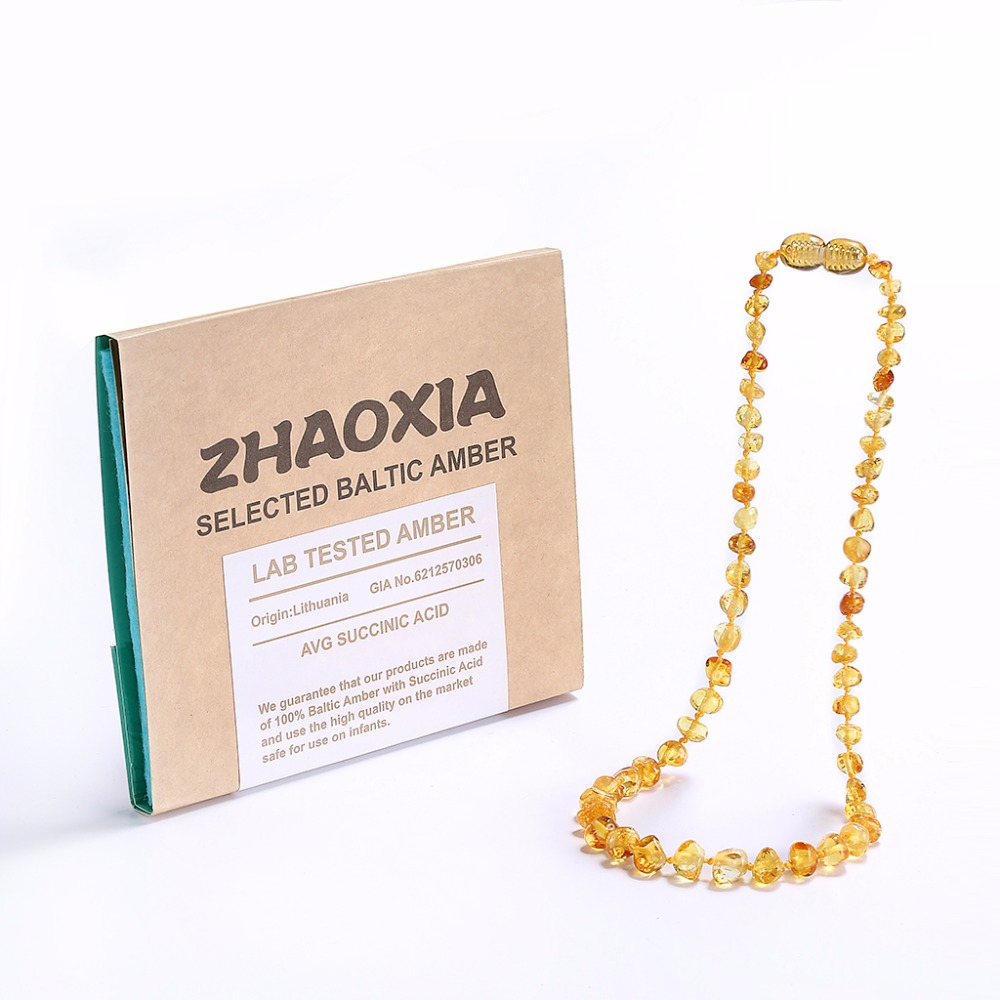 Baltic Amber Teething Necklace for Baby(Lemon) - Handmade in Lithuania - Lab-Tested Authentic - 3 Sizes