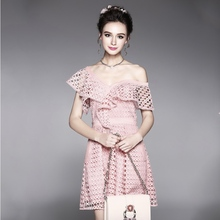 dress European and American large size with summer sexy hollow water-soluble milk silk lotus leaf trim