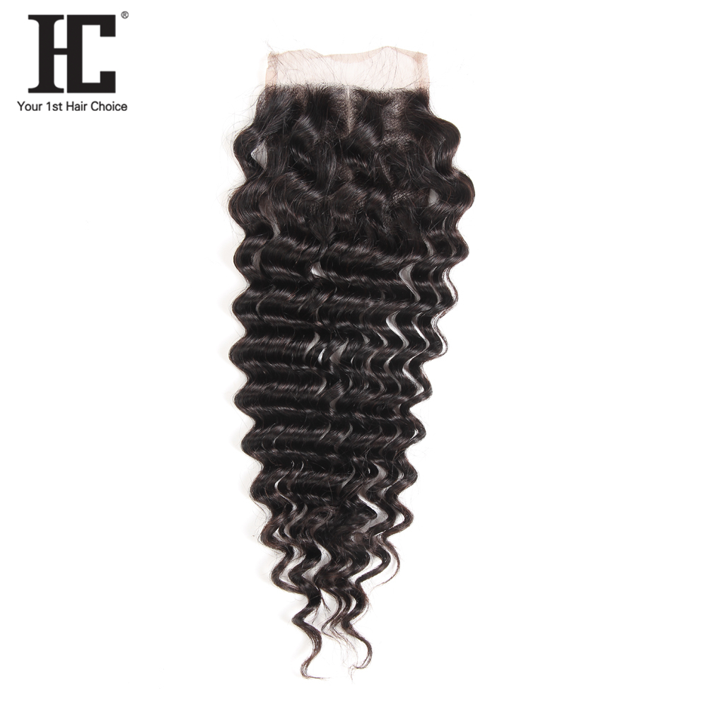 HC Malaysian Deep Wave Lace Closure Free Middle Three Parting Bleached Knots 4x4 Swiss Lace 100% Remy Human Hair Weave Closure