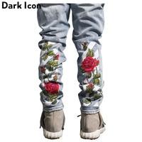 Rose Floral Embroidery Ripped Denim Pants Men 2017 Hi End Fashion Boot Cut Men Male Pants