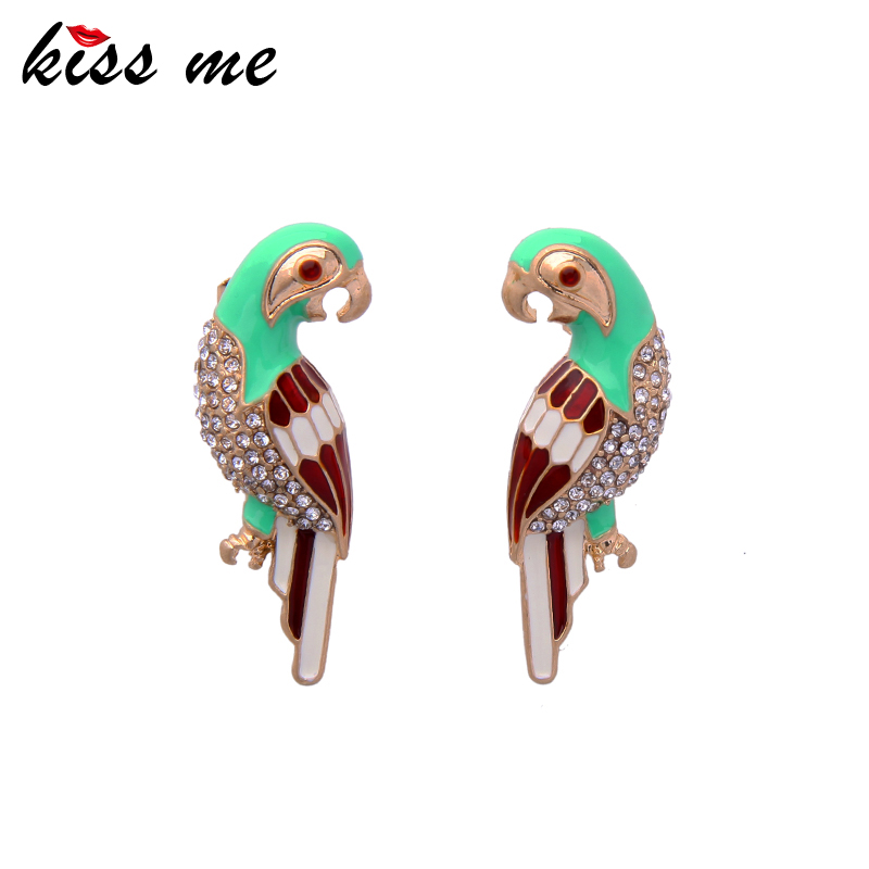 KUS ME Cute & Fashion Green Enamel Rhinestone Birds Stud Earrings Fashion Jewelry 2017 Wholesale Brincos
