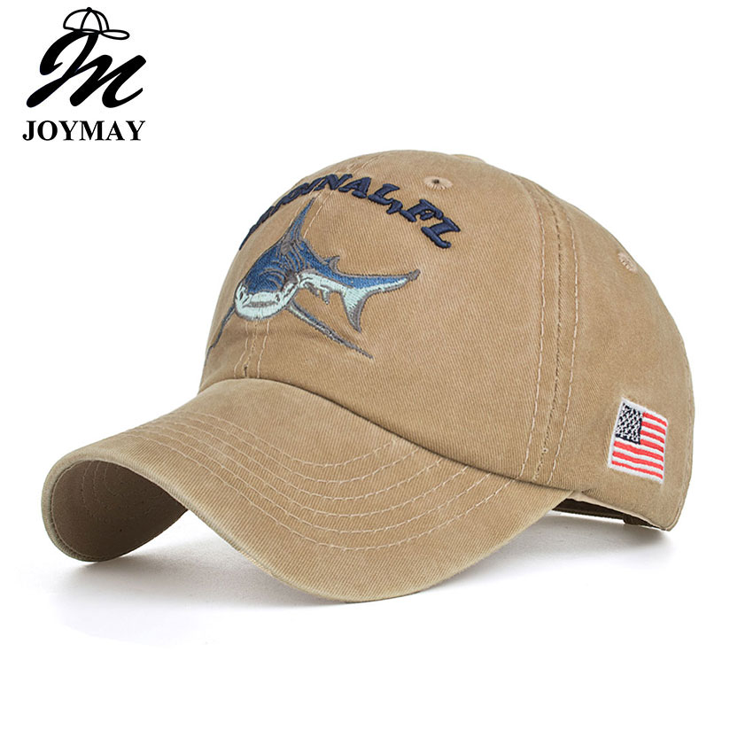 Joymay 2018 Cotton Washed Vintage Fitted   Baseball     Cap   Original Shark Embroidery Snapback gorras casual casquette B546