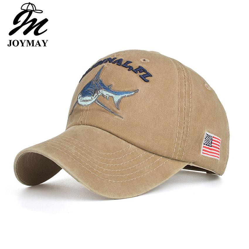 Joymay 2018 algodón lavado Vintage gorra de béisbol Original Shark bordado  Snapback gorras casquette ocasional B546 ea08bb20eb3