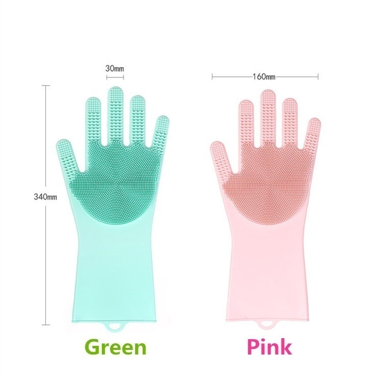 New Update Kitchen Silicone Double Side Cleaning Gloves Magic Silicone Dish Washing Gloves For Household Silicone Scrubber Dishw