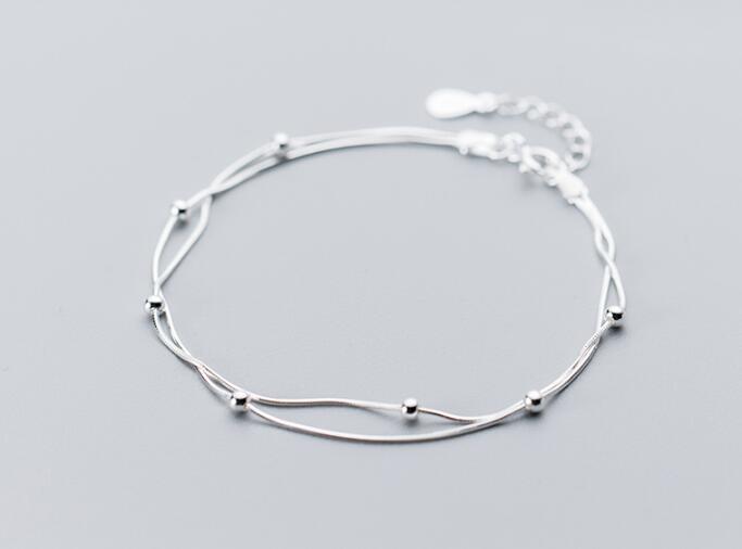 100% Real. 925 Sterling Silber Edlen Schmuck Doppelreihen/schichten Runde Perlen Snakebone Kette Armband Frauen Gtls542