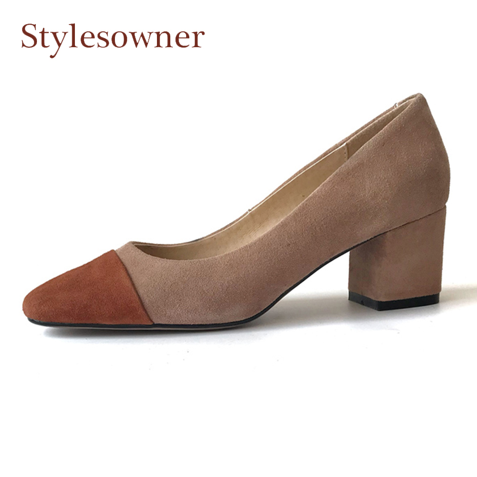 Stylesowner genuine leather mixed color high heel spring women shoes square toe shallow 5cm 2cm chunky heel pumps mujer zapatos