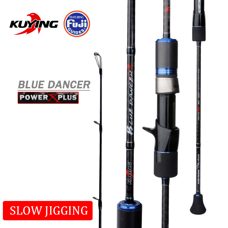KUYING BLUEDANCER 2.04m Casting Slow Jigging Rod Fishing Lure Cane Rods Carbon FUJI Rotate Helical Ring 1 Section 150-400g Lures
