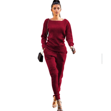 new hot women's autumn winter two-piece  solid jumpsuit casual long sleeve Top + pants women's Jumpsuits flounce sleeve solid top