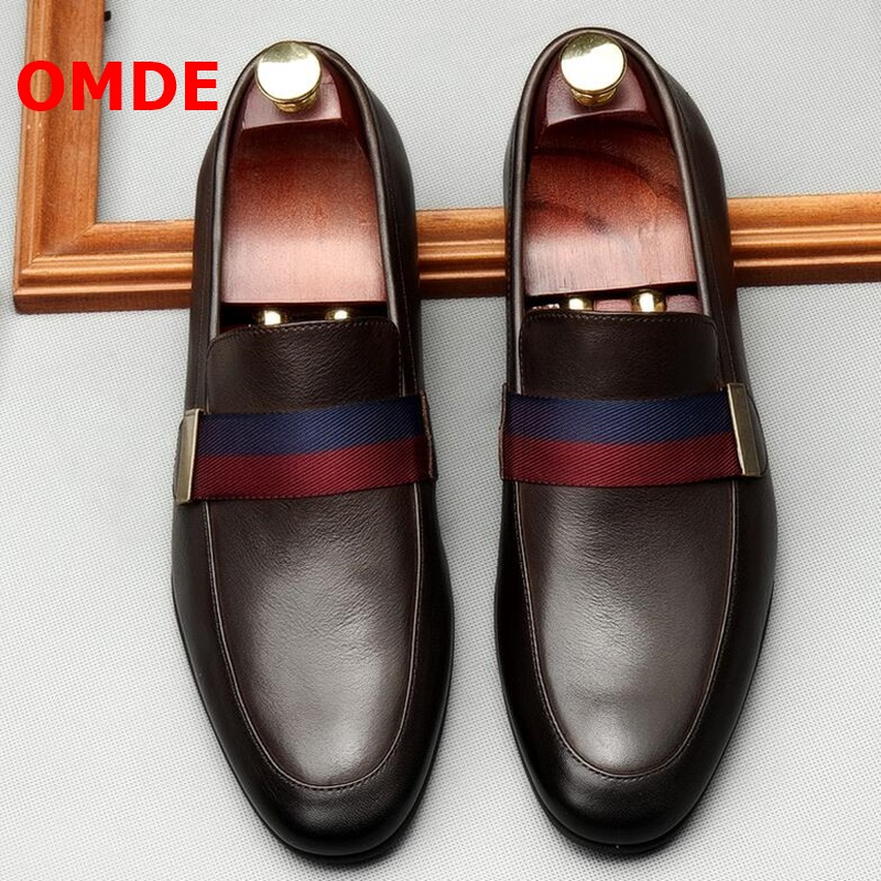 OMDE Soft Cow Leather Men Shoes Luxury Brand Slip On Designer Shoes Men Loafers Casual Shoes Party And Wedding Dress Shoes