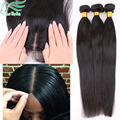 7A Straight Brazilian Virgin Hair Silk Base Closure With Bundles,3 Bundles With Silk Closure Human Hair With Silk Base Closure