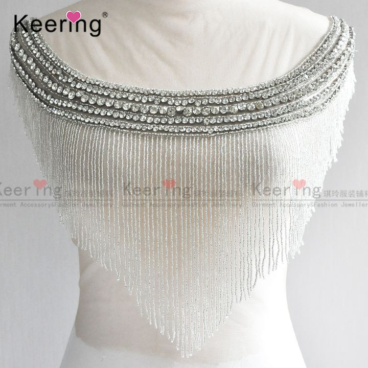 Waterfall dangling bodice applique jewelry collar patch For Wedding Dress WDP 108