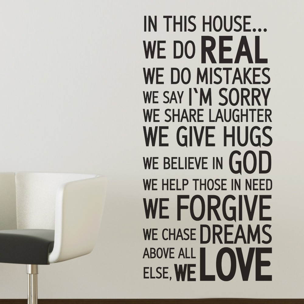 In this house we do love quote wall decal 45degreesdesign wall decal sticker vinyl art house rules family quote in this we do real forgive amipublicfo Choice Image