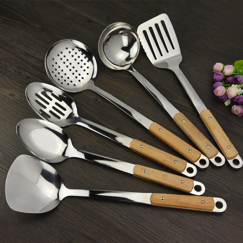 Keythemelife 1pcs Kitchenware Wooden Handle Stainless