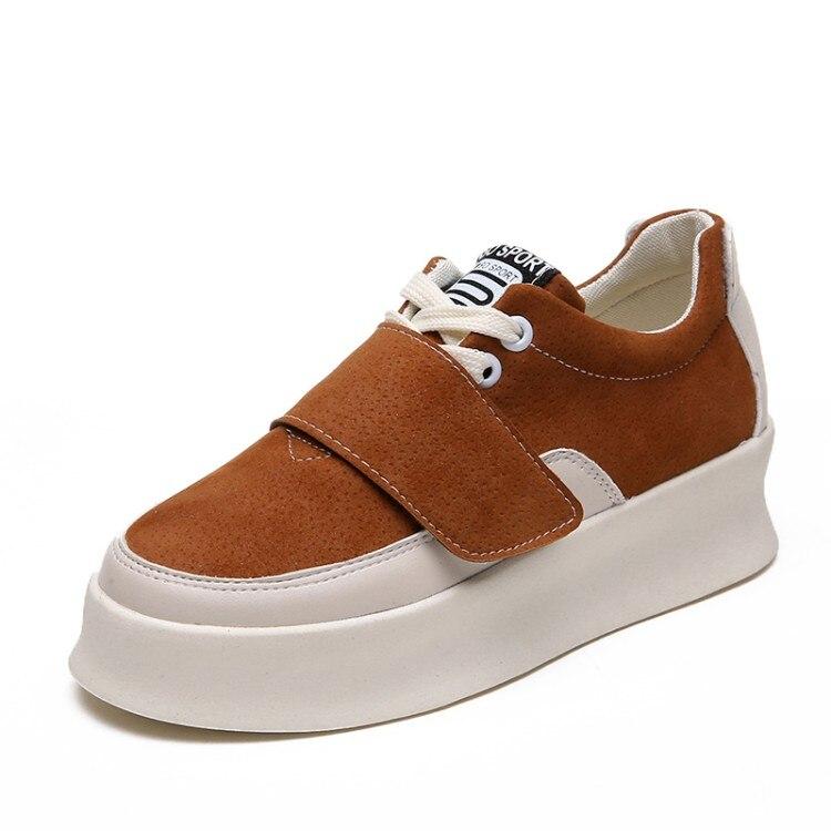 Zapatillas Cuero La De Fujin Zapatos Deporte Plana Las Cómodos Otoño Primavera Moda Mujer Casuales brown Pu Mujeres Black 2019 Plataforma Calzado z7pP7