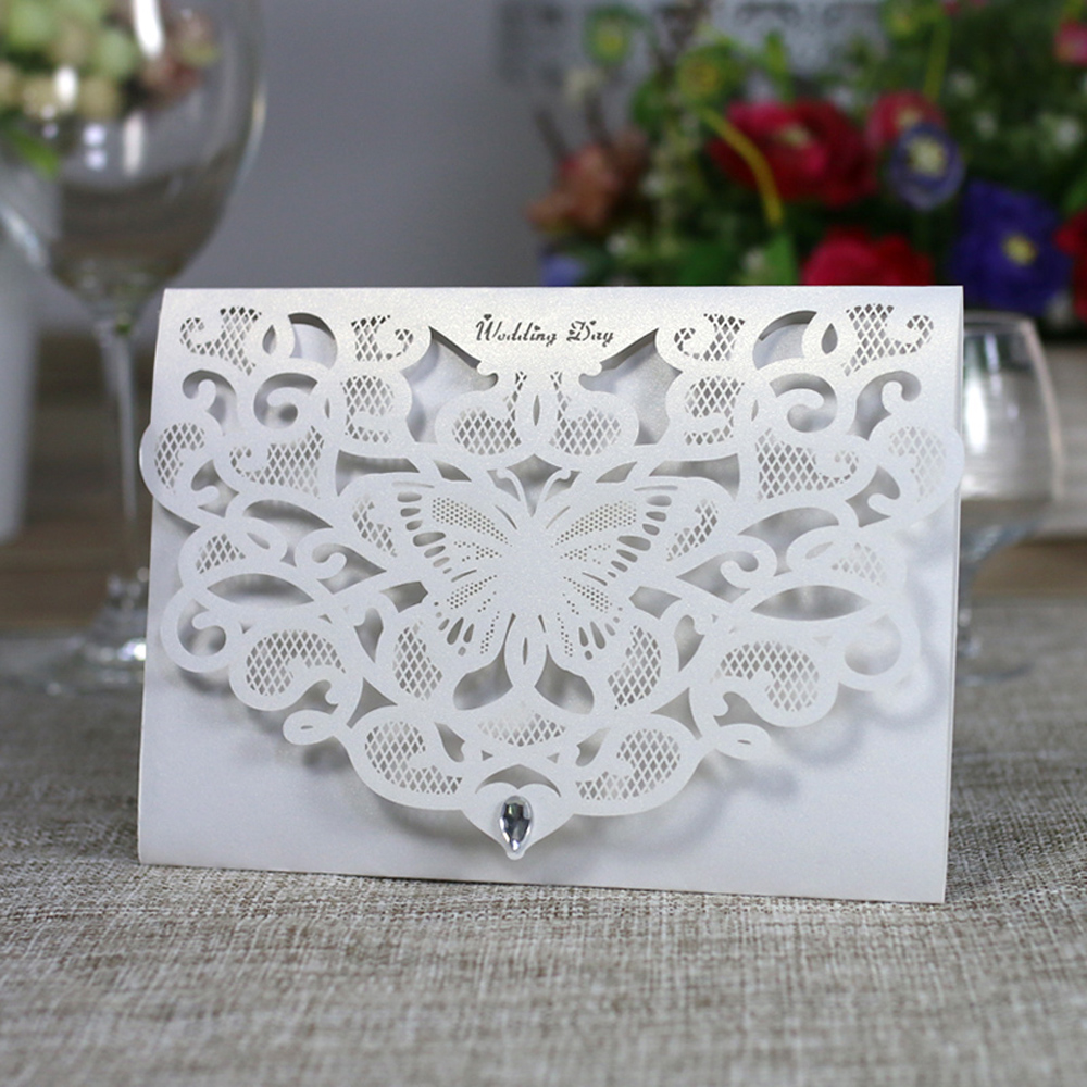10cs Laser Cut Wedding Invitation Card Kit with Inner Sheet Envelope Butterfly Pattern Wedding Card Engagement Party Decor