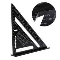 Regla de medición Triangular 7 pulgadas de aleación de aluminio métrica velocidad cuadrado techo triángulo ángulo Protractor Trammel herramientas de prueba
