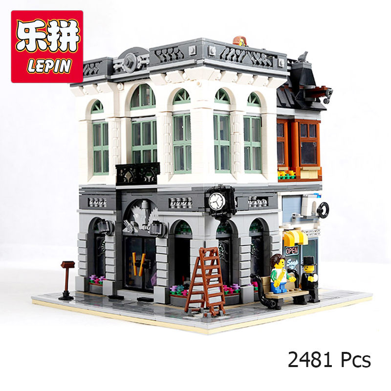 LEPIN 15001 City Street Brick Bank Model Building Assembling Blocks Bricks Toy Compatible With Legoing 10251 Educational Toy loz mini diamond block world famous architecture financial center swfc shangha china city nanoblock model brick educational toys